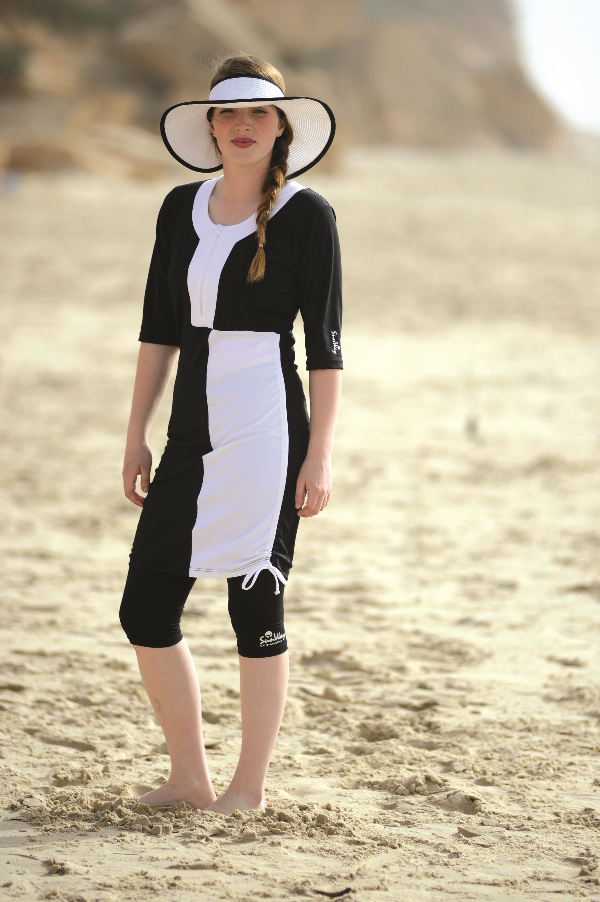 Black and White Modest Swimwear Outfit