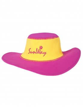 Babies and Toddlers Fuxia and Yellow Wide Brim Hat