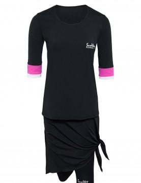 modest swimwear with long swim skirt