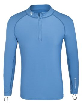 Thermal Lycra Fleece Shirt with Zipper - Light Blue