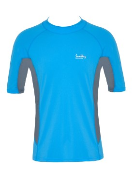 Men Light Blue and Gray UV Rash Guard Shirt