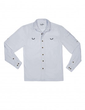 UPF50+ Men White UV Outdoor Shirt