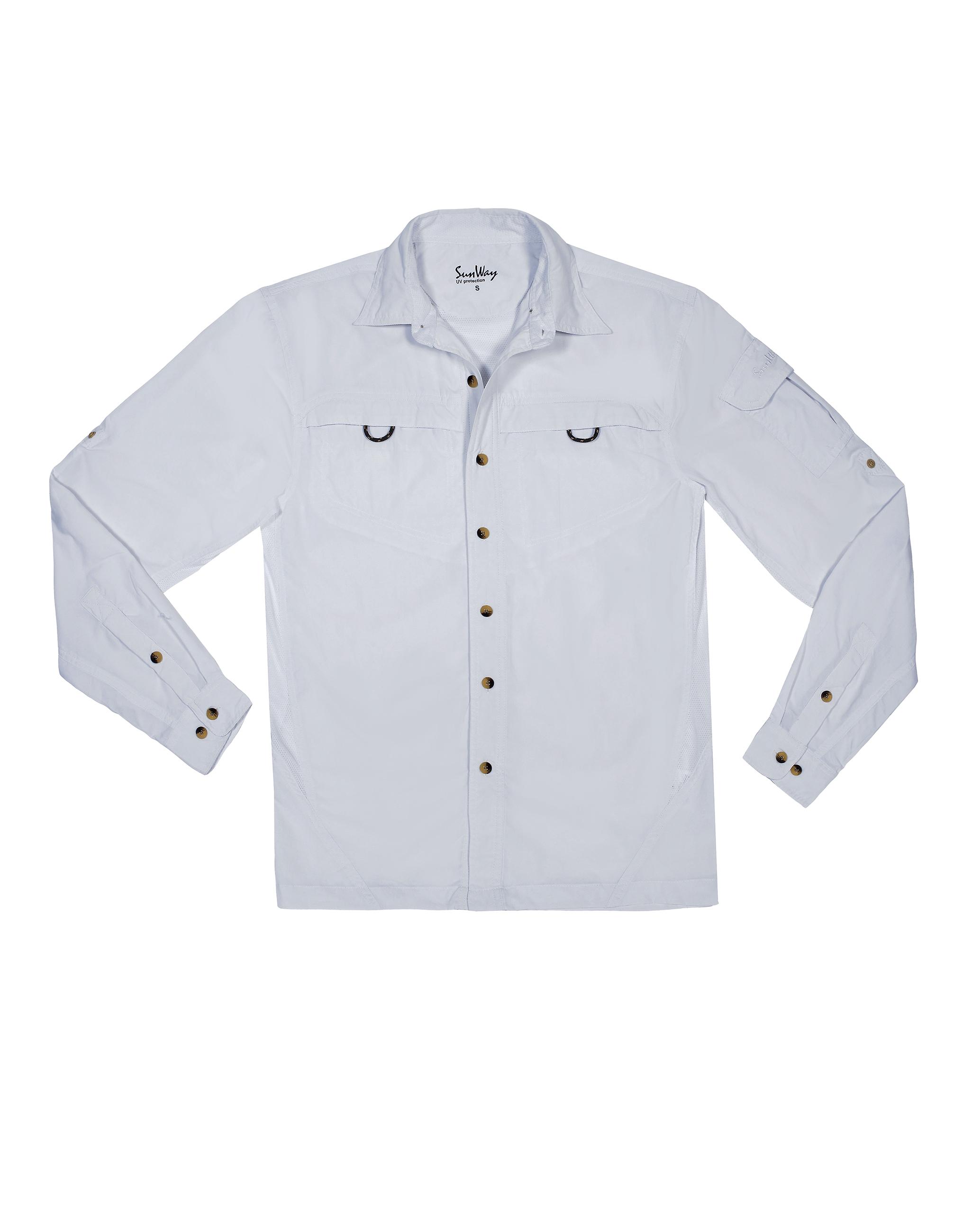 UPF50+ Men White UV Outdoor Shirt