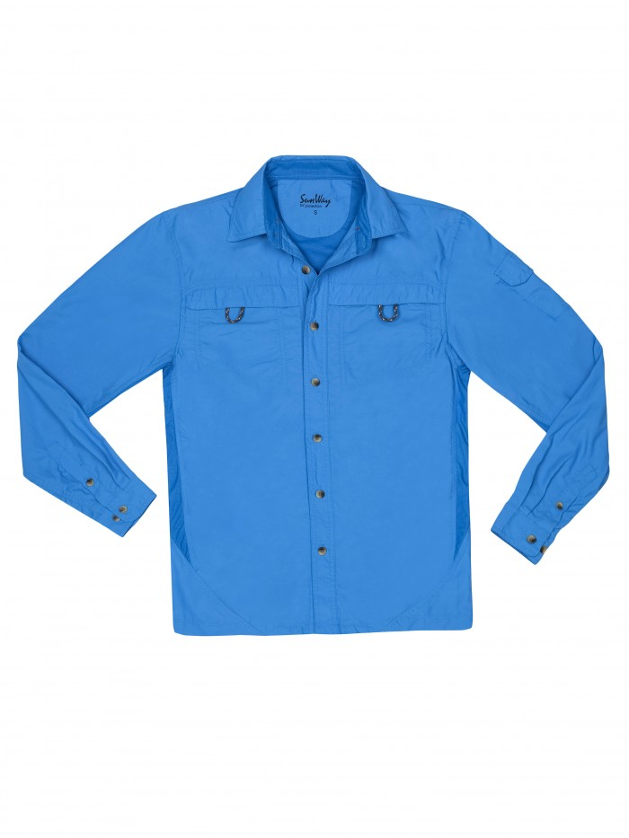 Sunway 39 s men optimic blue uv outdoor shirt for Uv protection fishing shirts