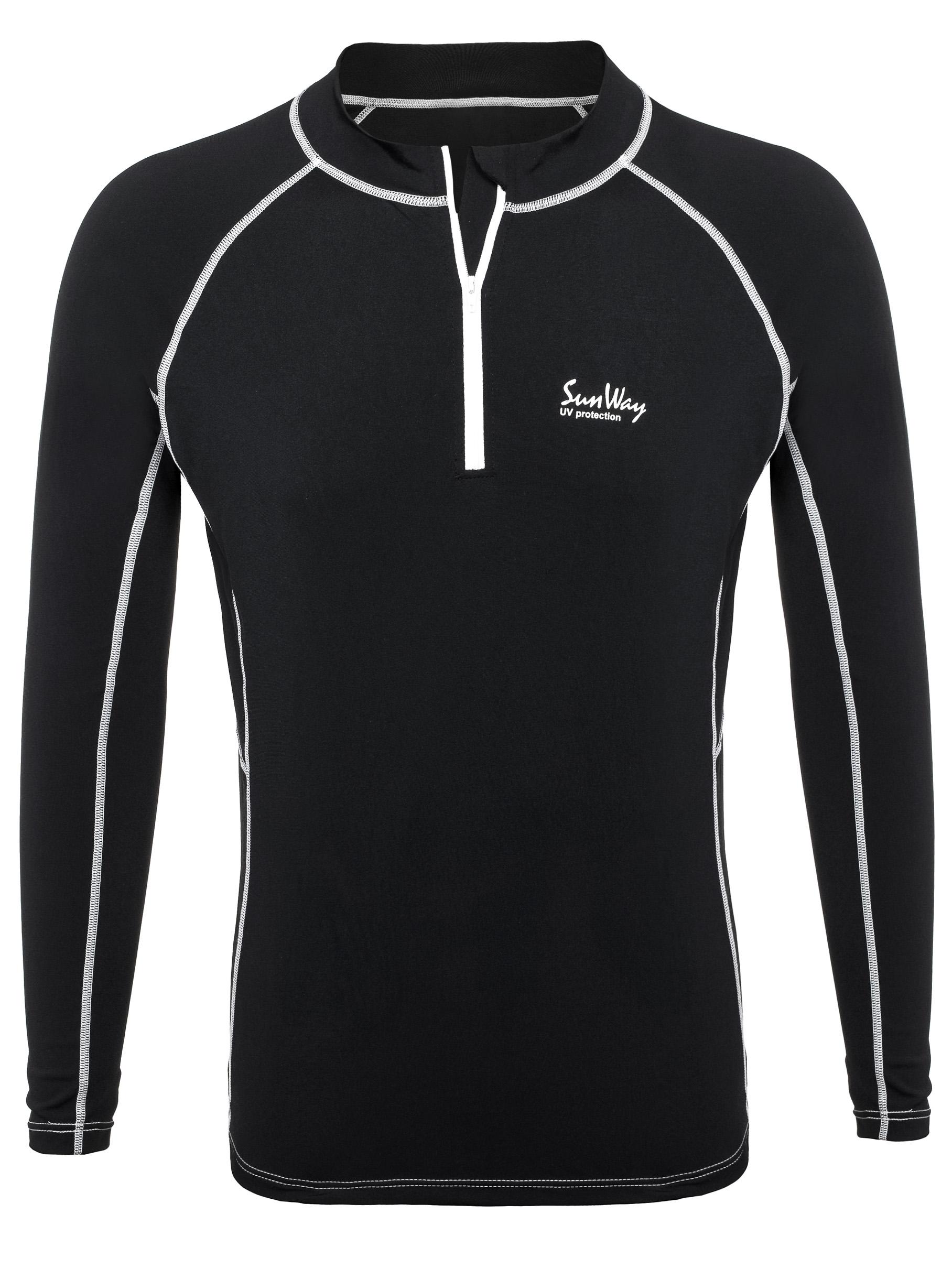 Long Sleeve Rash Guard Shirt With Zipper