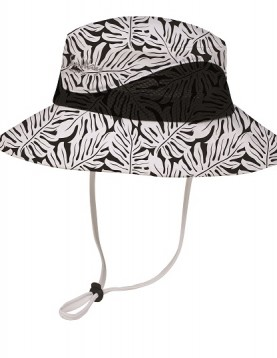 Black and white flower texture wide brim hat