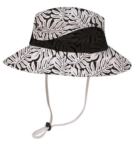 Black and white flower texture wide brim hat