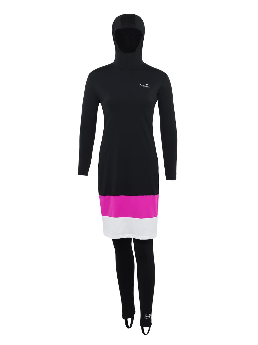 Burqini modest swimwear with hood