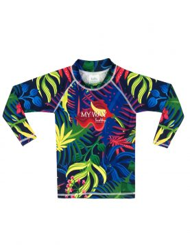 Tropical flower Long Sleeves Rash guard 125 kids sizes