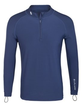 Thermal Lycra Fleece Shirt with zipper - Blue