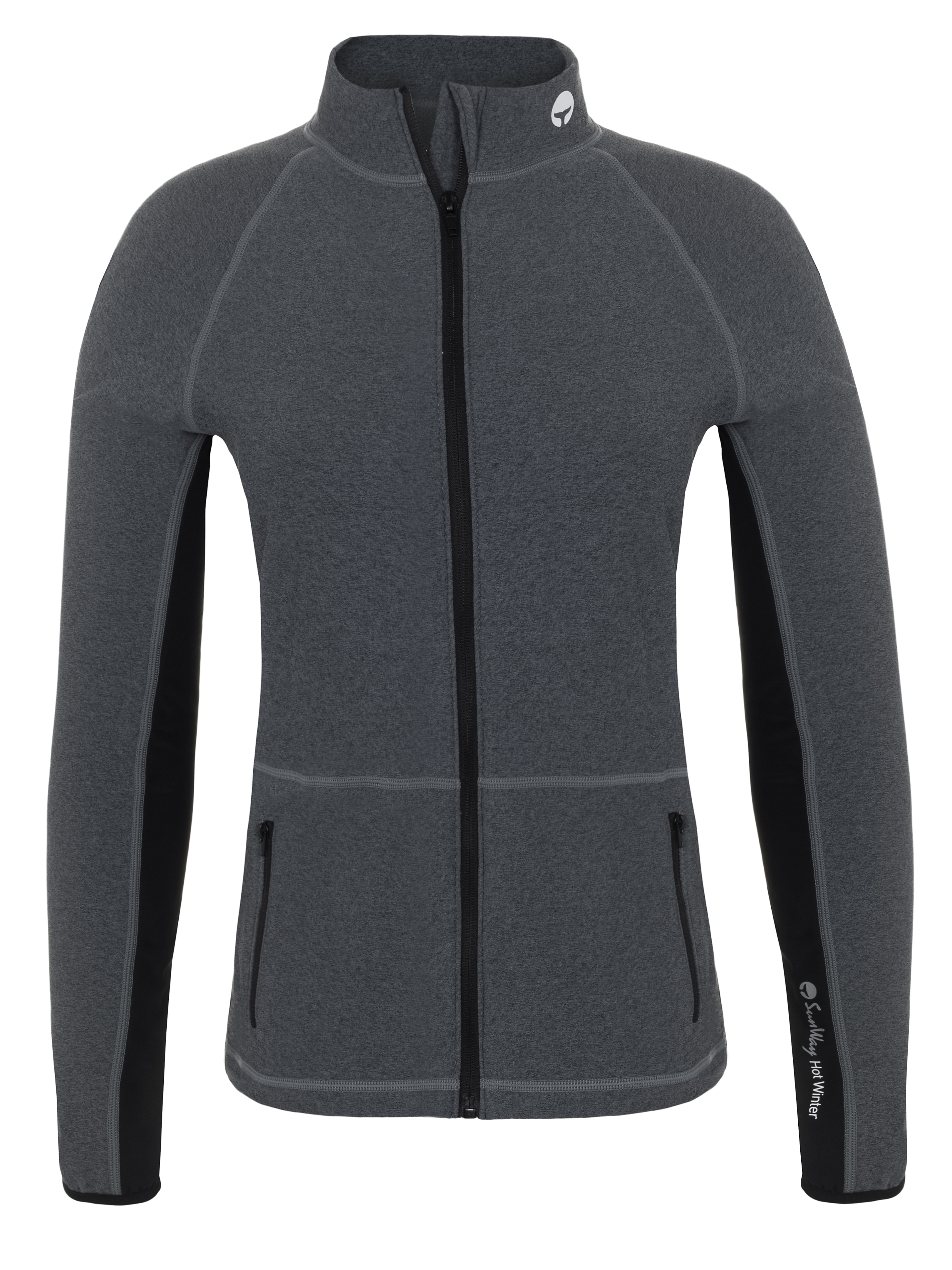 Thermal Lycra Fleece Shirt with Full zipper - Gray & Black on the sides