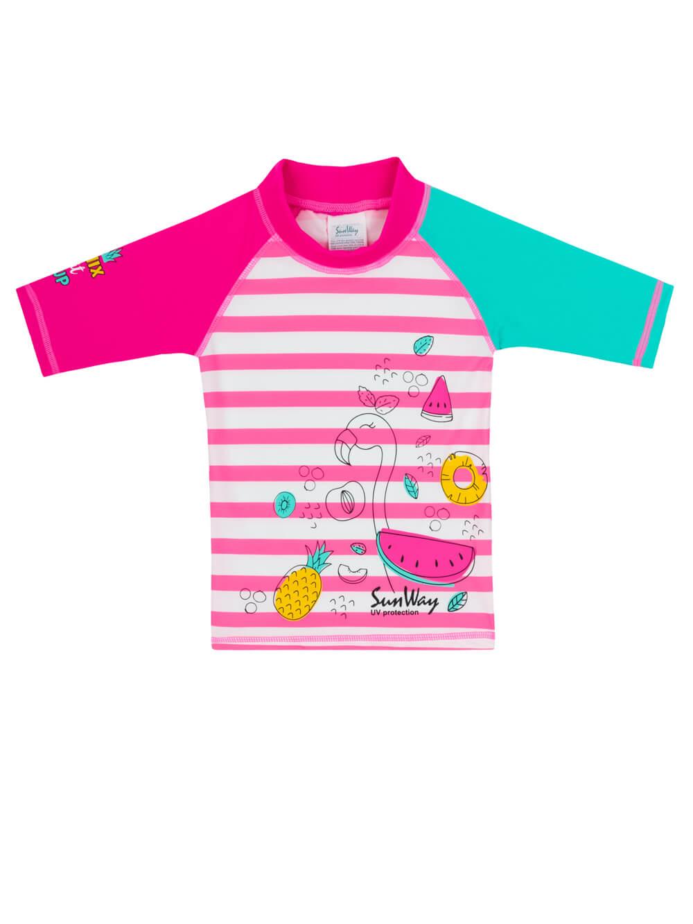 Flamingo swim shirt. Swim shirt rash guard 113