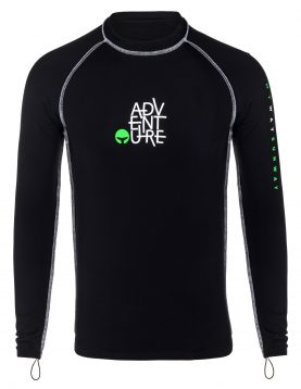 Thermal Lycra Fleece Shirt - Black for all winter watersports and swimming