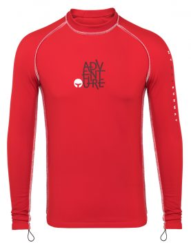 Thermal Lycra Fleece Shirt - Red Thermal Swim Shirt