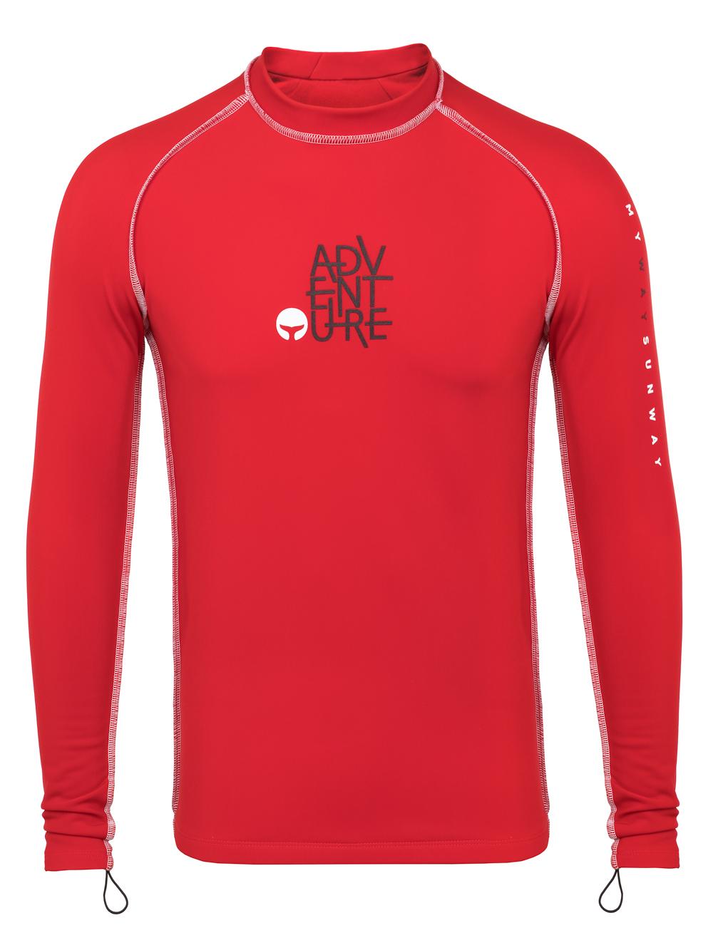 Thermal Lycra Fleece Shirt - Red Thermal Swim Shirt